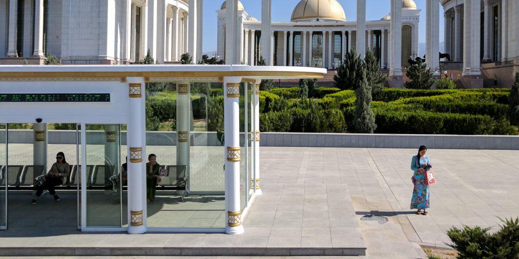 Bus station in Ashgabat, Turkmenistan