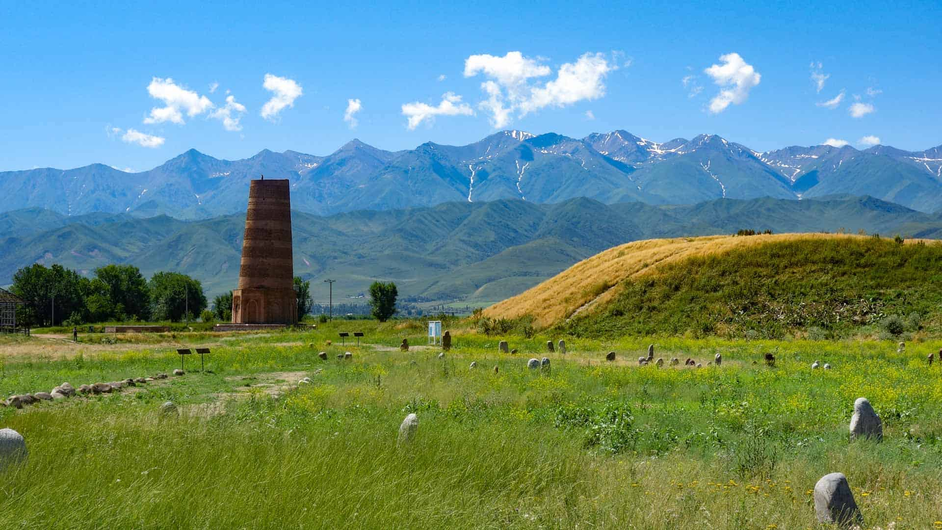View of the Burana Tower with the mountains in the background