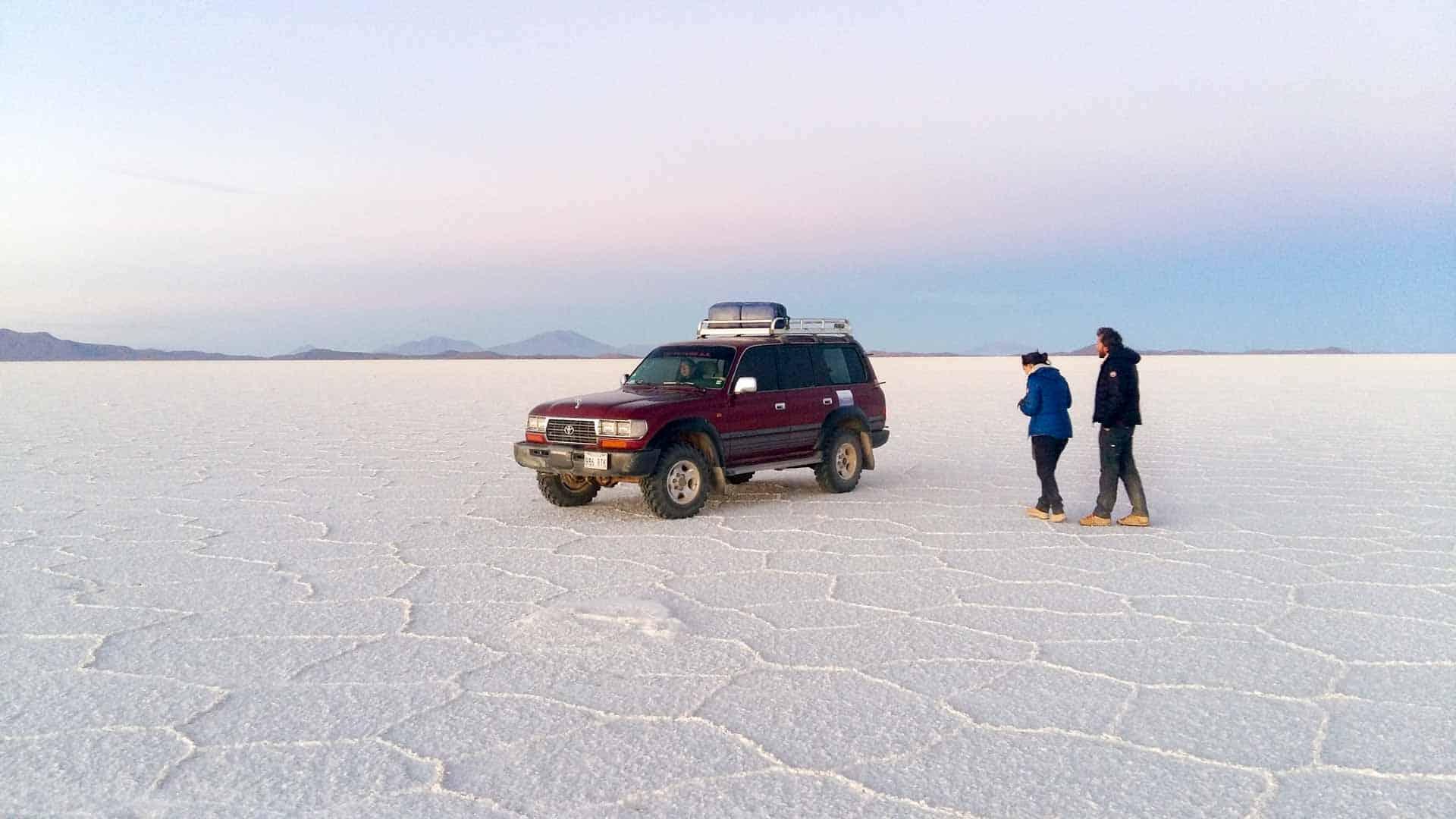 Jeep in the Salar de Uyuni, Bolivia