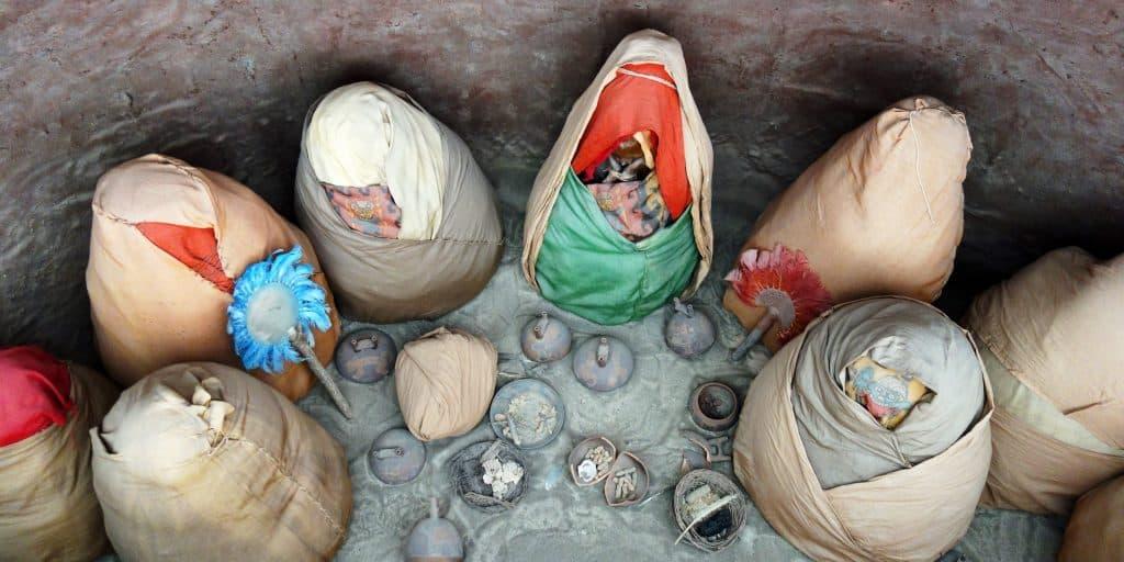 Mummy bundles, Paracas, Peru
