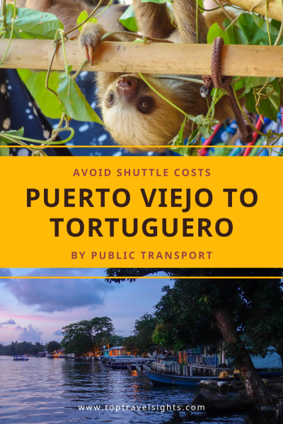 Pinterest graphic for Puerto Viejo to Tortuguero by public transport