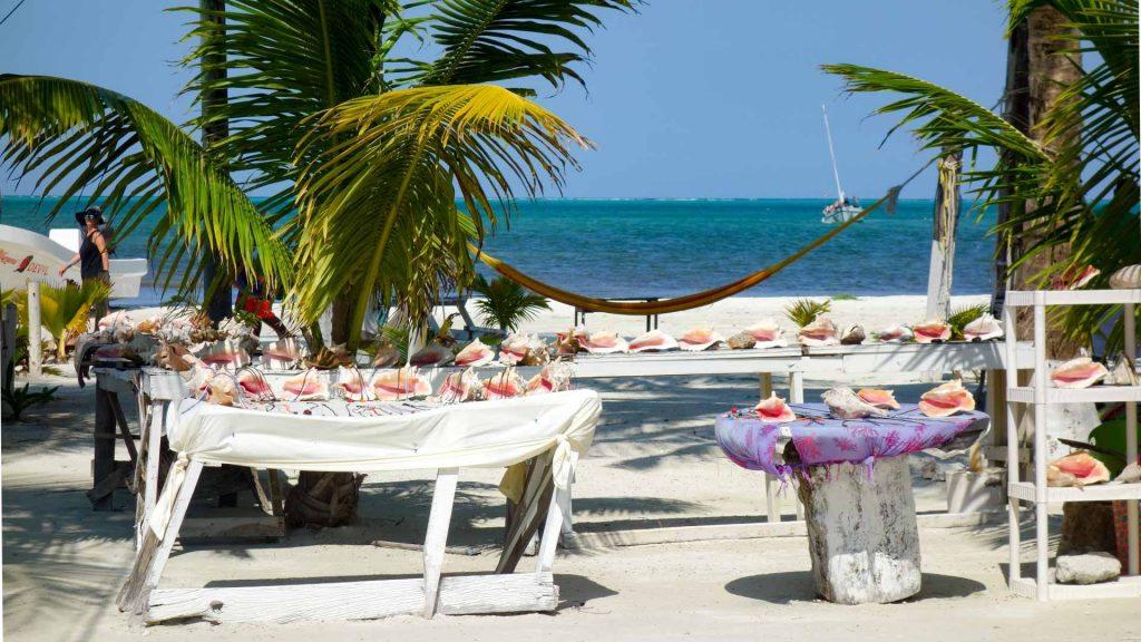 Sea shells for sale on Caye Caulker, Belize