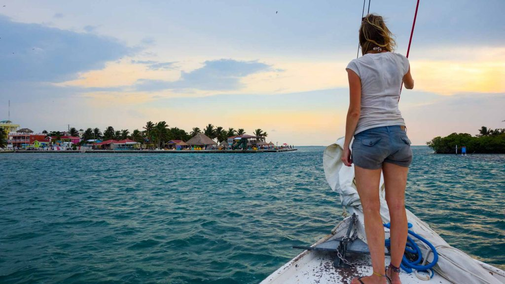 On a sail boat during a sunset tour in Caye Caulker, Belize