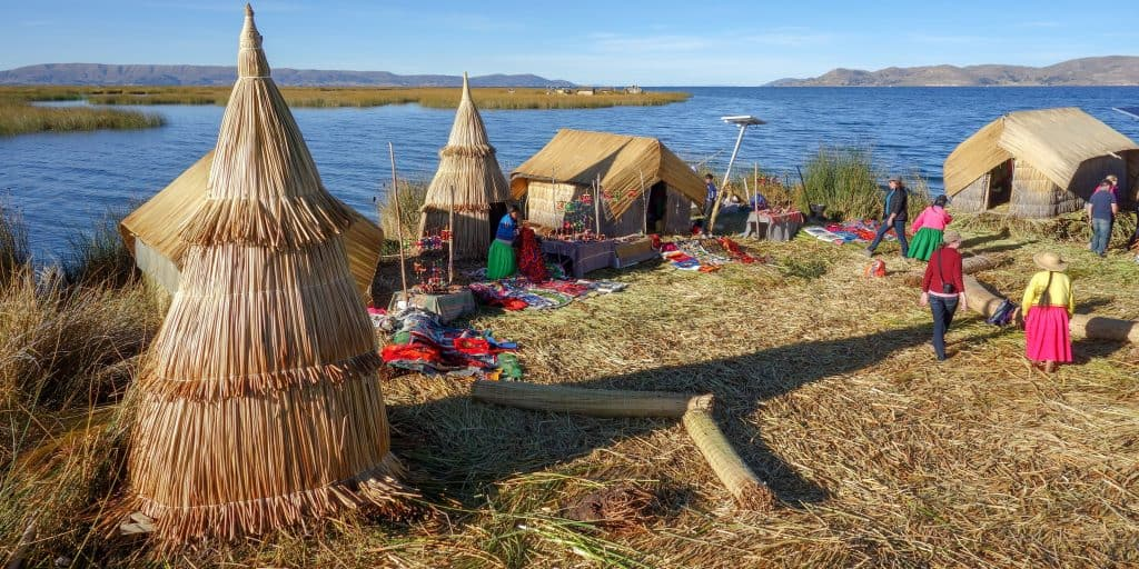 Reed Islands on Lake Titicaca, Peru
