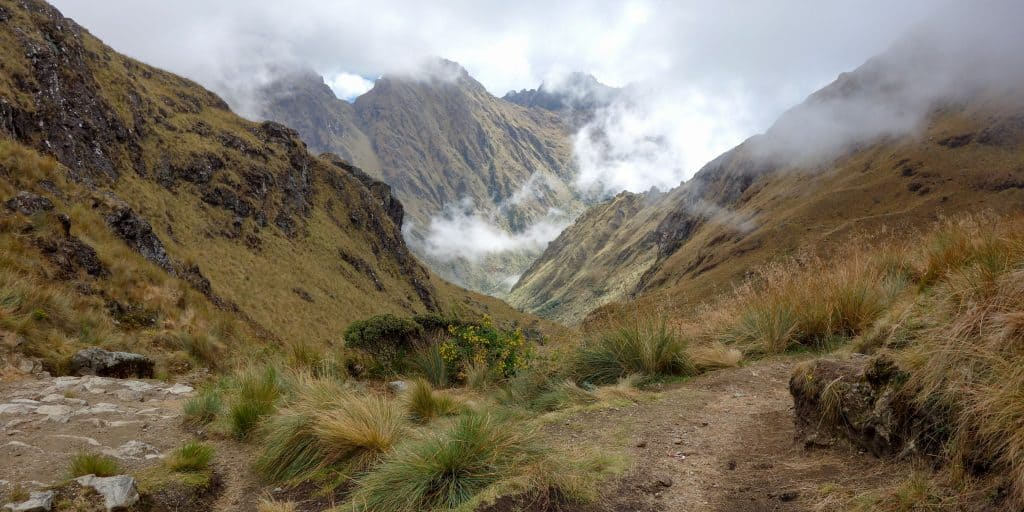 Foggy view down into a valley on the Inca Trail, Peru