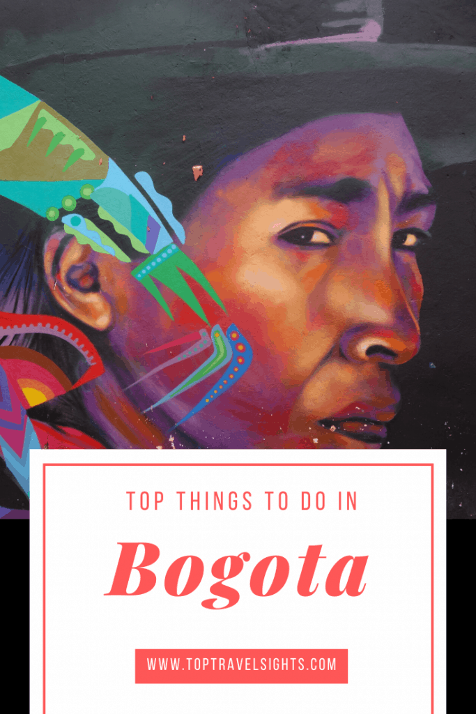 Pinterest image for top things to do in Bogota showing street art