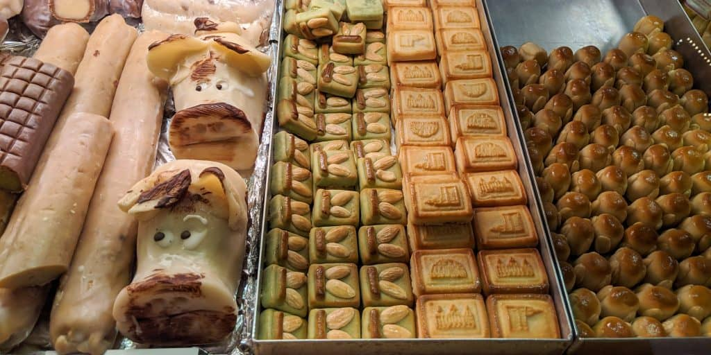 Typical pastries sold at a Christmas market