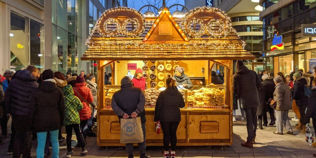 Pretzel stand at the Christmas market in Frankfurt, Germany