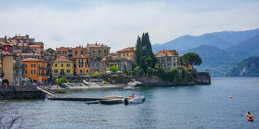 Colourful houses on Lake Como, Italy