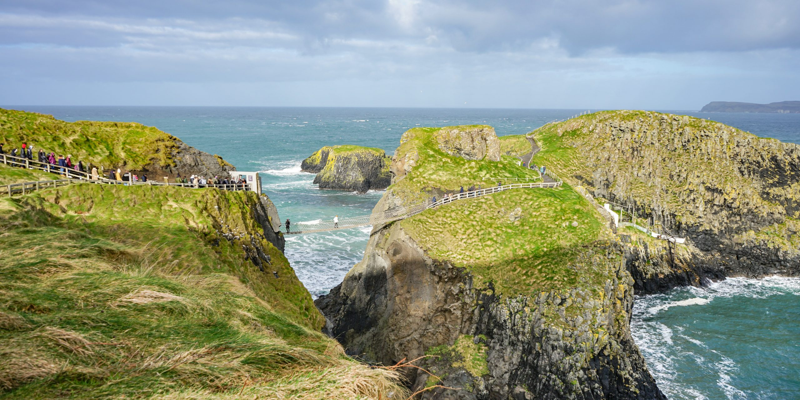 View of the Carrick-a-Rede Bridge in Northern Ireland