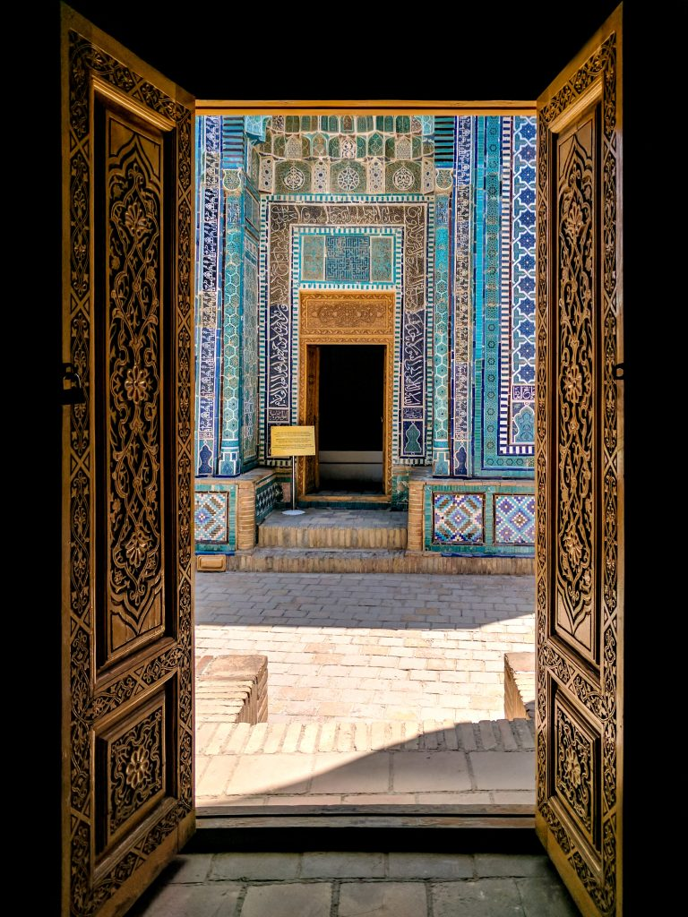 Door of one of the mausoleums in Shah-i-Zinda, Samarkand