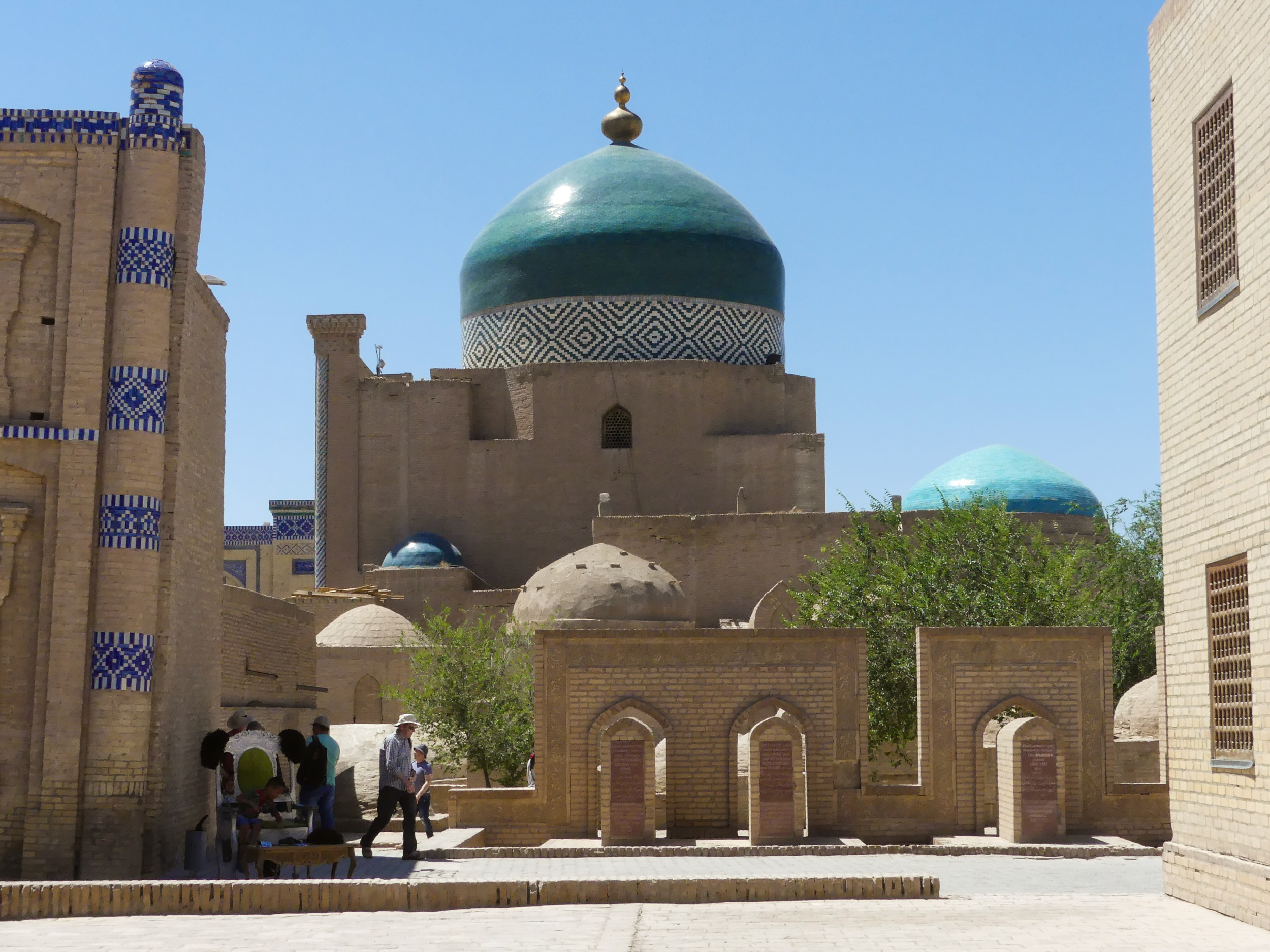 Street of Khiva, Uzbekistan, with a view of the Islam-Khodja Madrassa