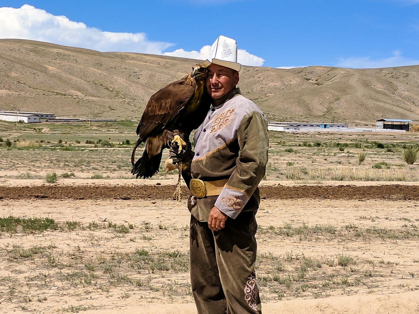 Eagle hunter with an eagle, Kyrgyzstan