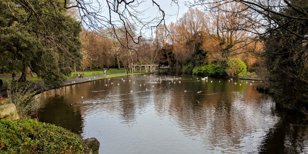 Pond in St Stephens Green in Dublin