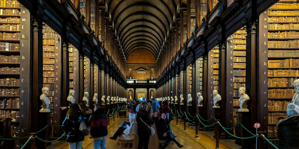 The library in Trinity College in Dublin, Ireland