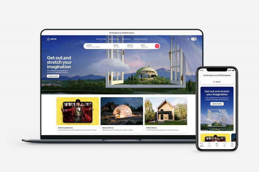 AirBnb homepage and mobile app