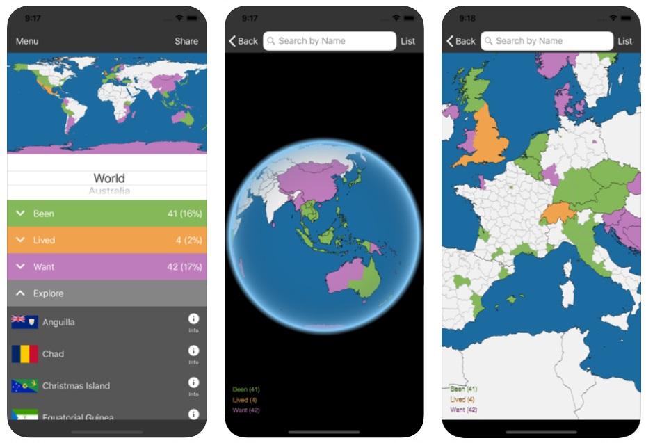 Screenshot of Countries Been