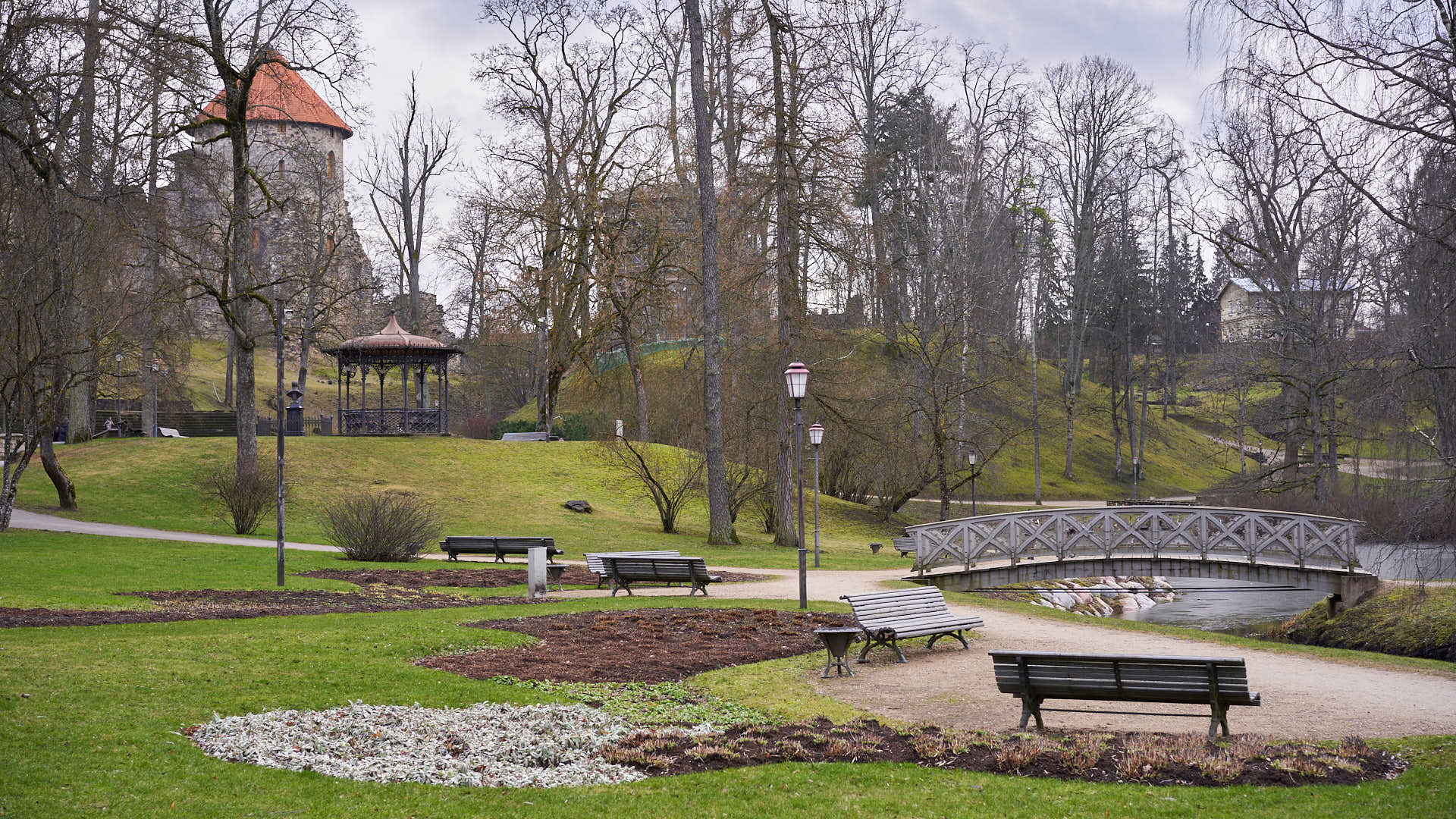 Park near the New Castle of Cesis, Latvia