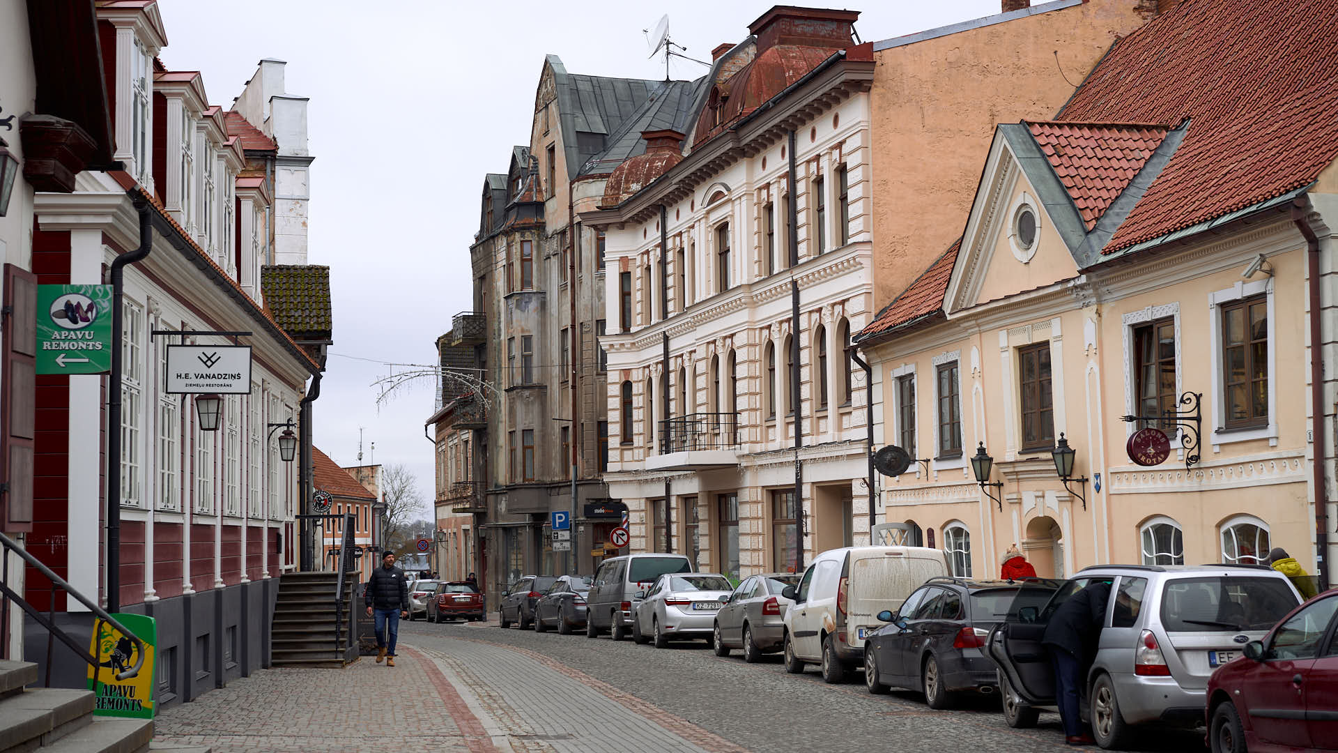 Street in the Old Town of Cesis, Latvia