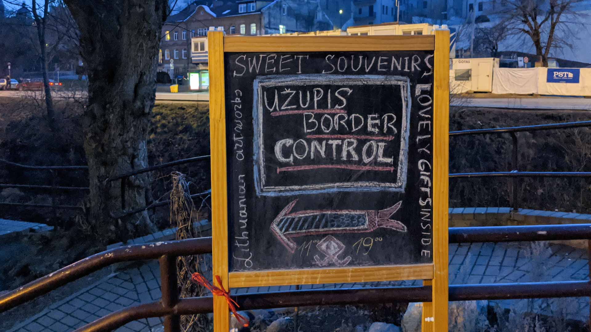 Uzupis border control sign, Vilnius, Lithuania