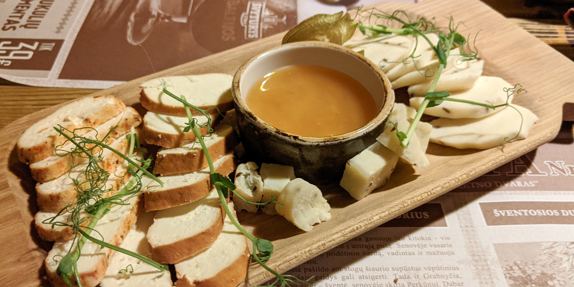 Lithuanian cheese with honey