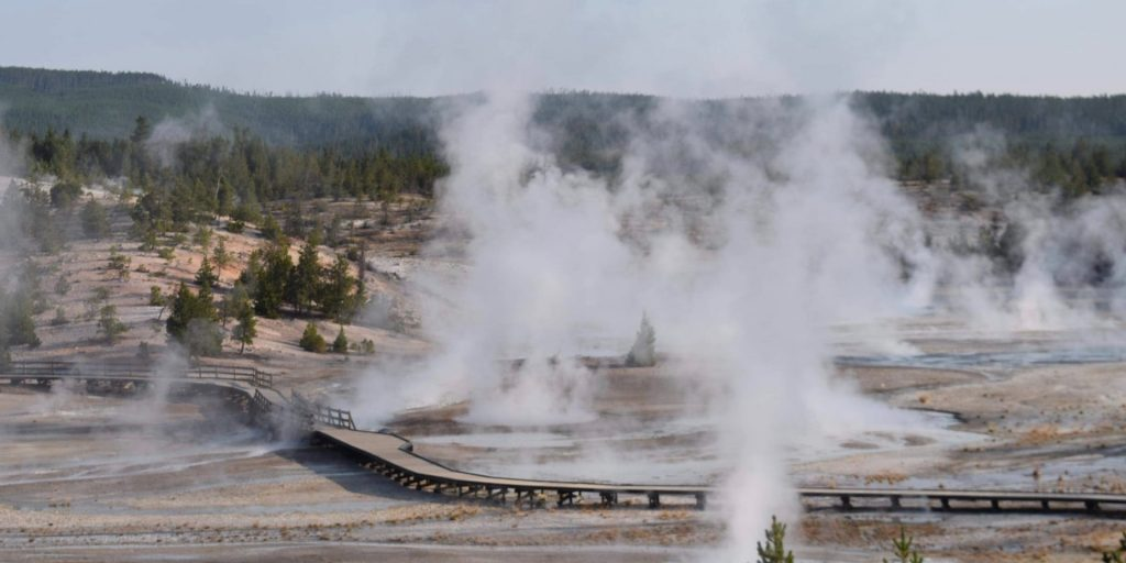 Smoke rising in Yellowstone National Park, USA