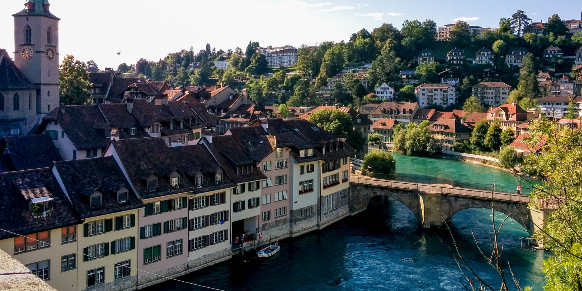 View of the Aare river from the Nydeggbrüke, Bern, Switzerland