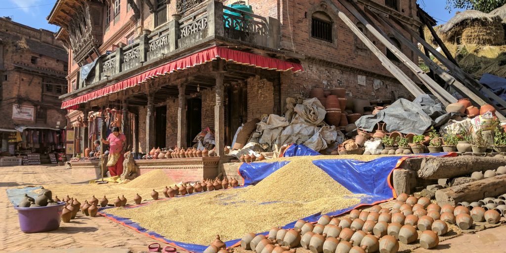 Pots drying at the Bhaktapur Pottery Square, Nepal