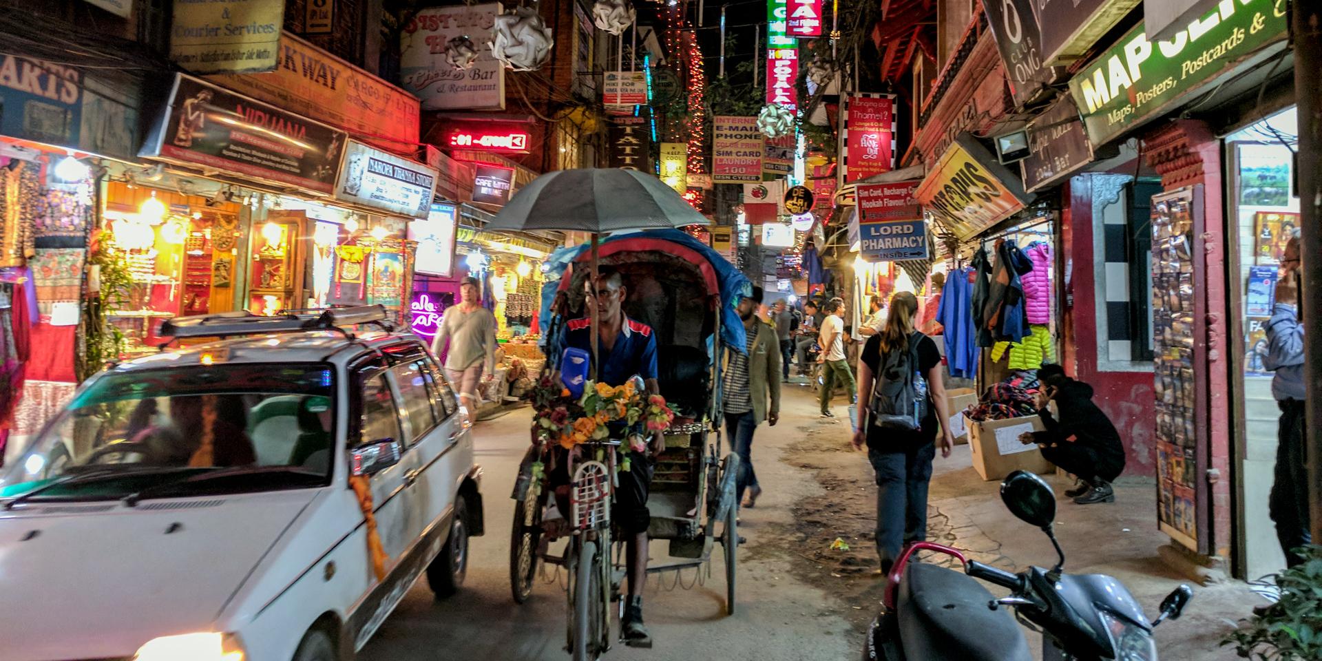 Street of Thamel District in Kathmandu, Nepal