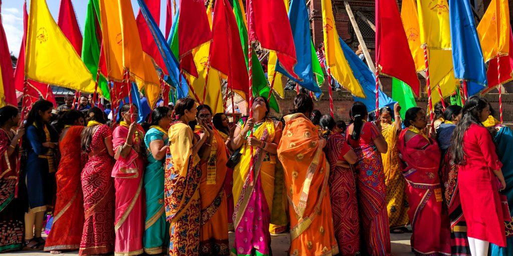 Women in a festival in Kathmandu, Nepal