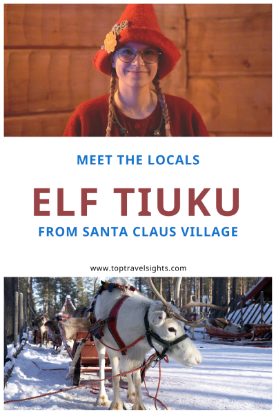 Pinterest graphic for Meet the Locals Elf Tiuku from Santa Claus Village, Finland