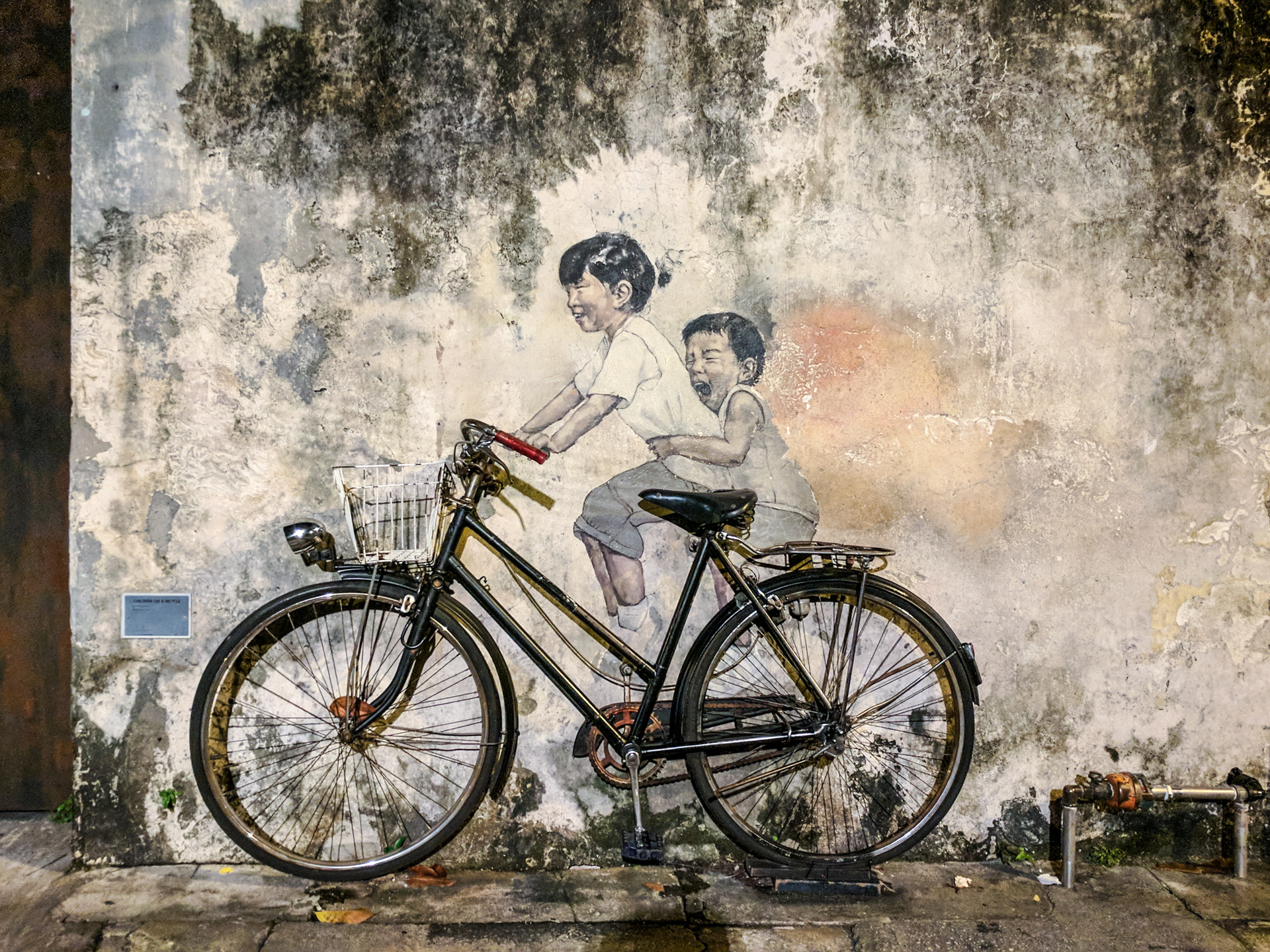 Little Children on a Bicycle, street art in George Town, Penang, Malaysia