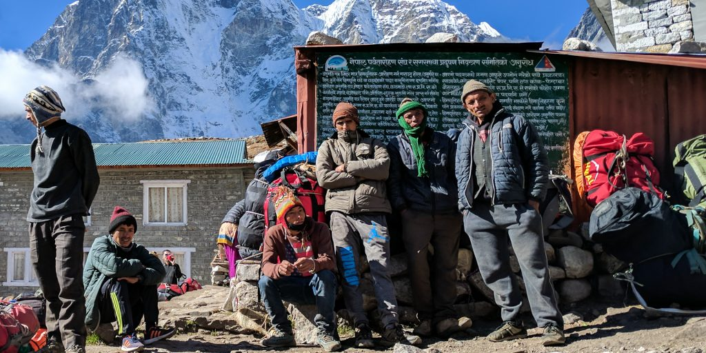 A group of Sherpas in the Everest Base Camp Trek, Nepal