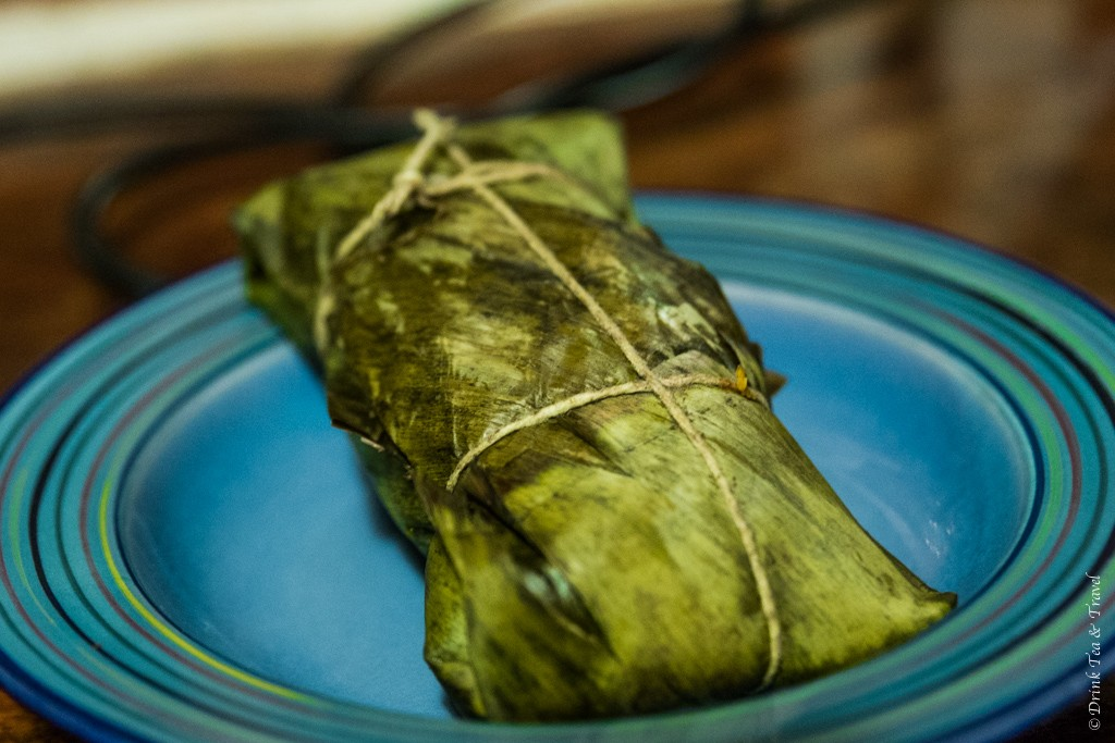 Tamales wrapped in banana leaf, Costa Rica