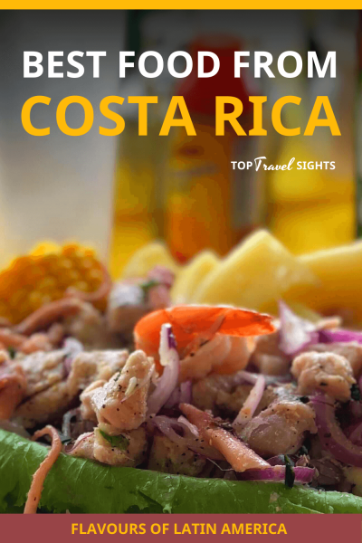 Pinterest image for top food to eat in Costa Rica, showing ceviche