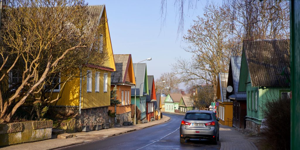Colourful houses in the Old Town of Trakai, Lithuania