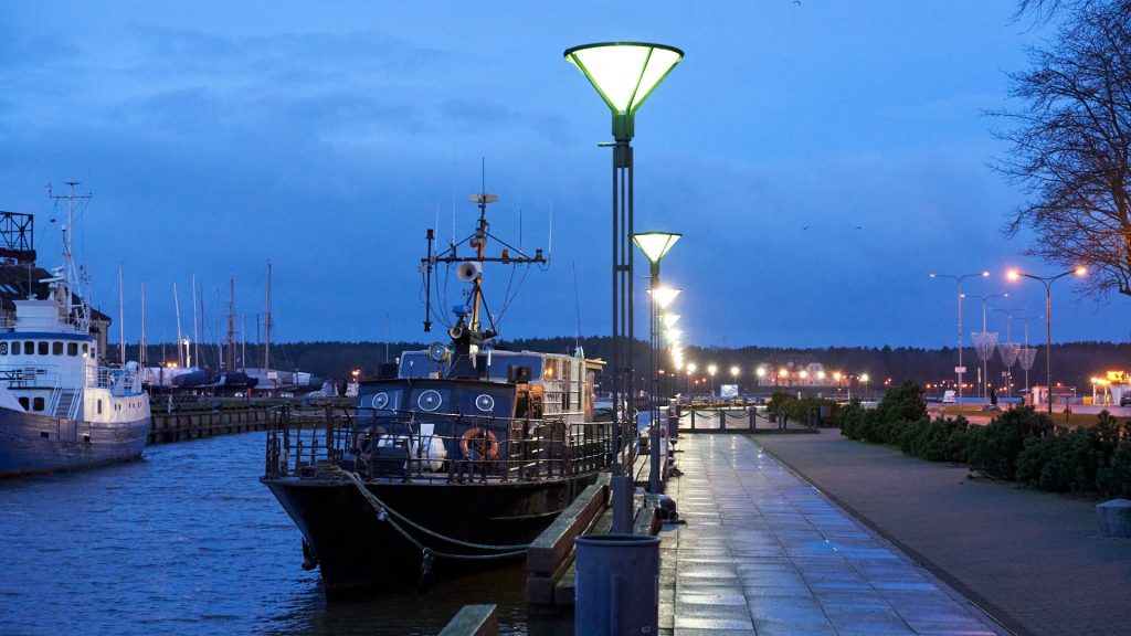Klaipeda by night, close to the ferry
