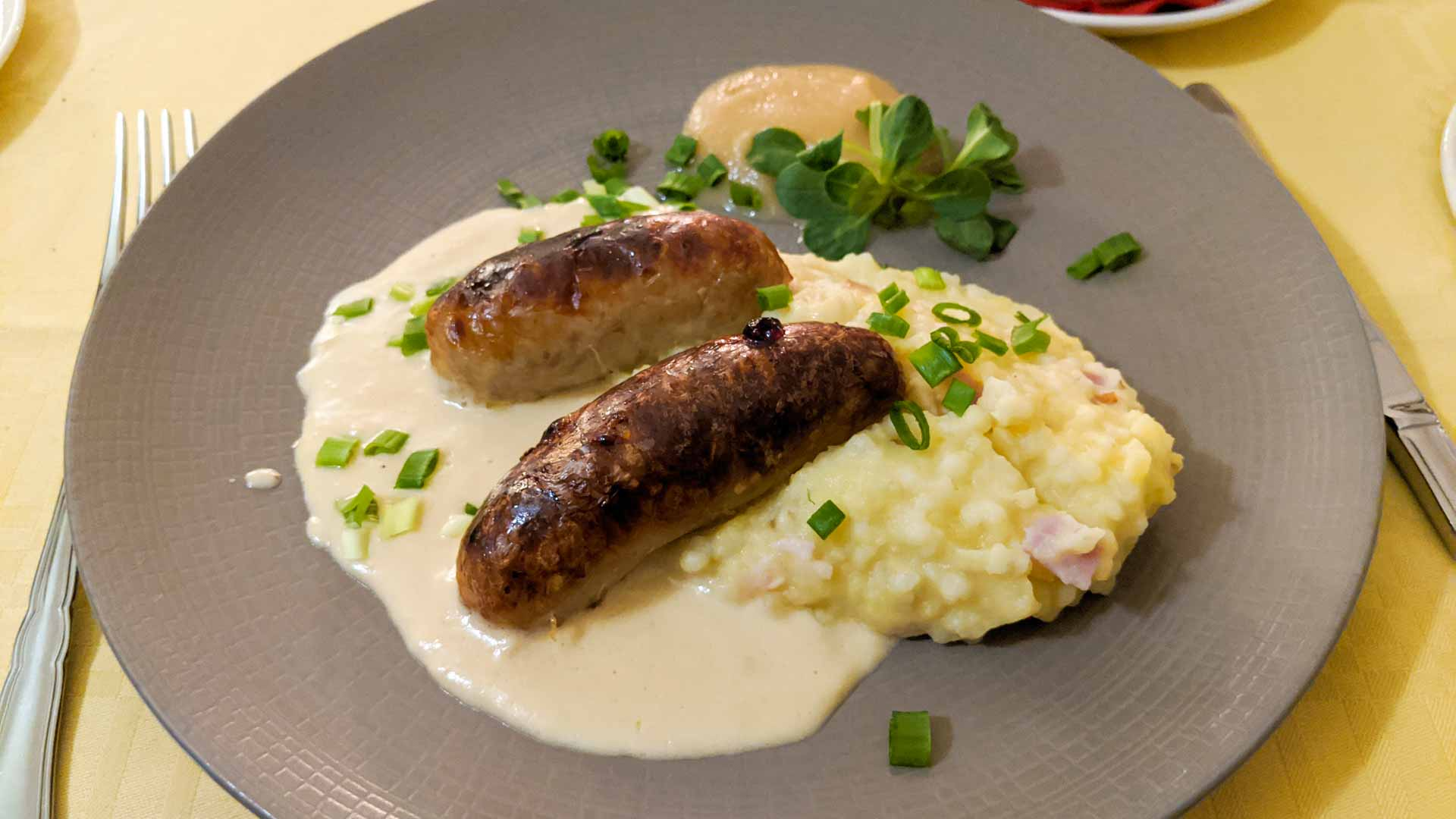 Dish of Estonian Barley Sausages with Mulgipuder on the side