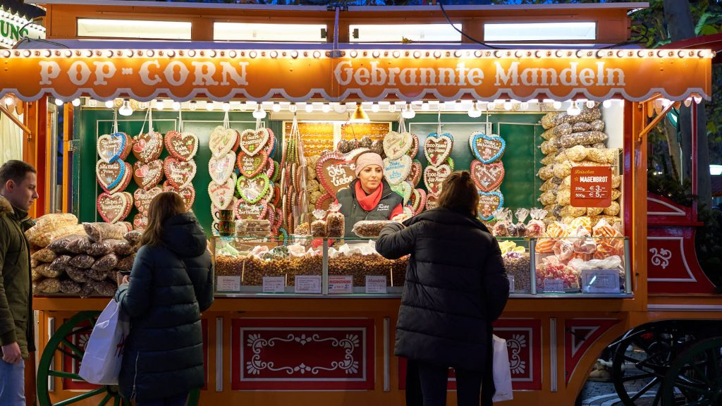 Sweet stall at Christmas Market Frankfurt