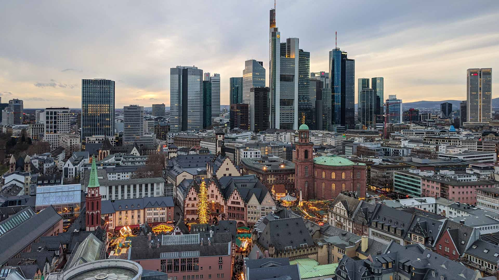 View of Frankfurt from the top of the Cathedral