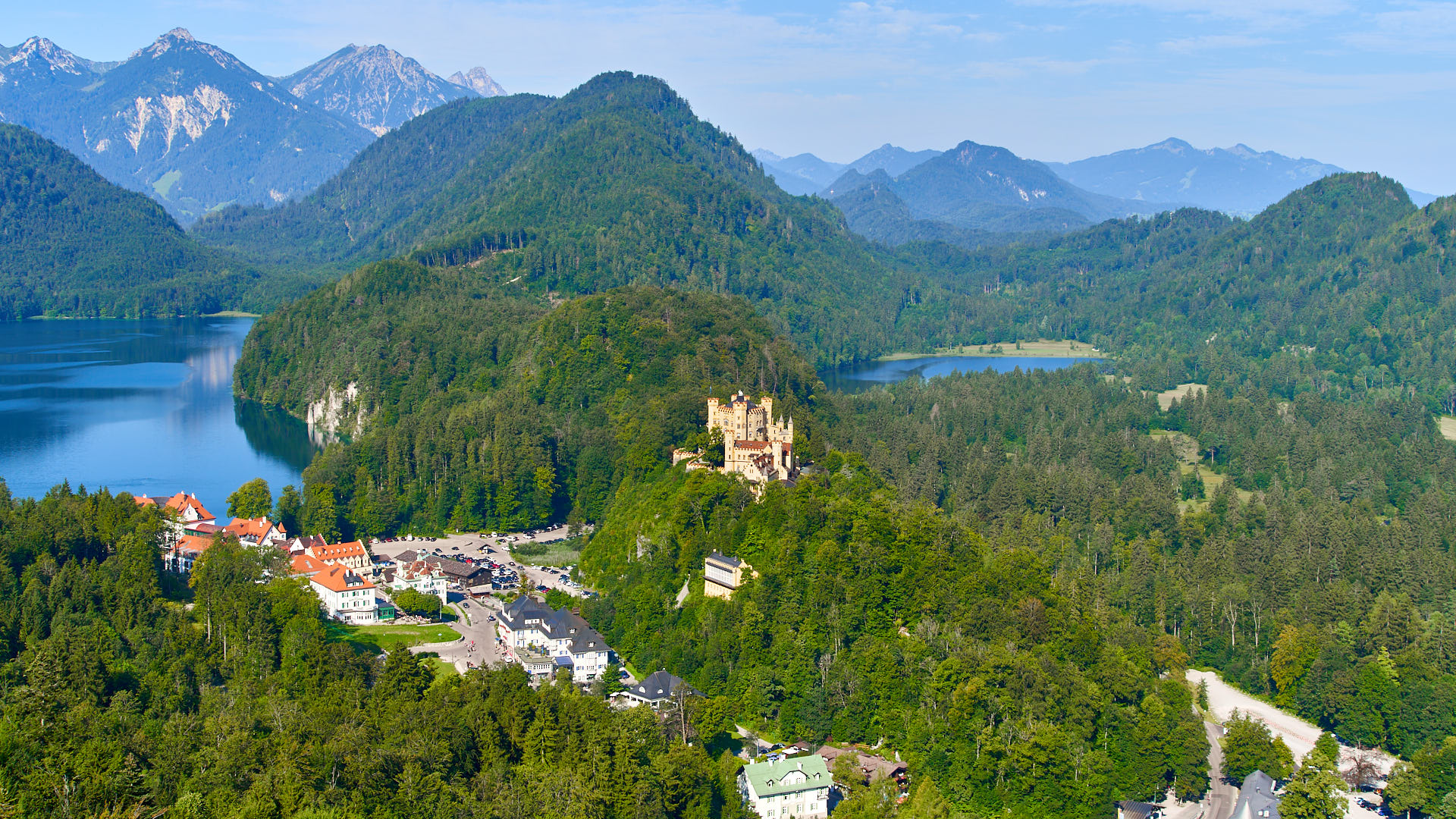 View of Hohenschwangau Castle and the Lake and the Alpsee Lake