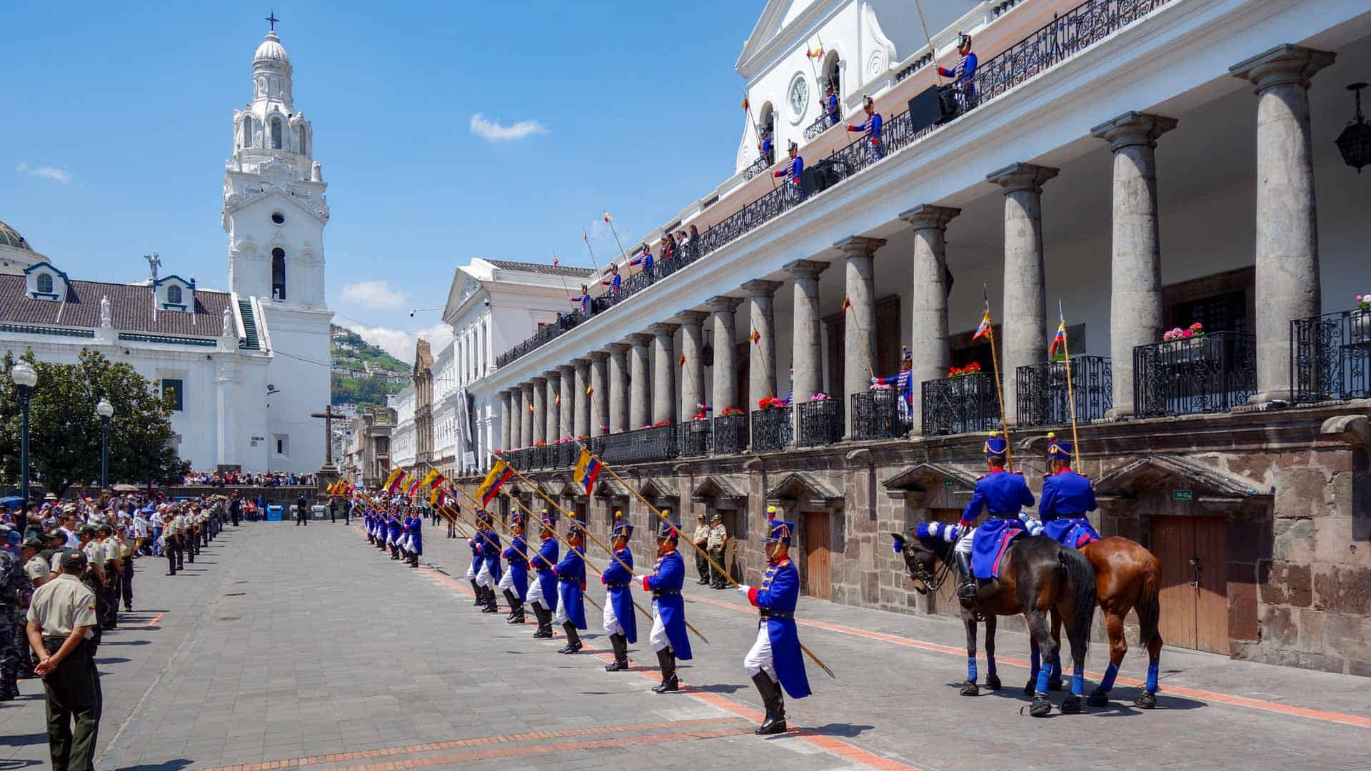 Ceremony of changing of guards in Quito Old Town