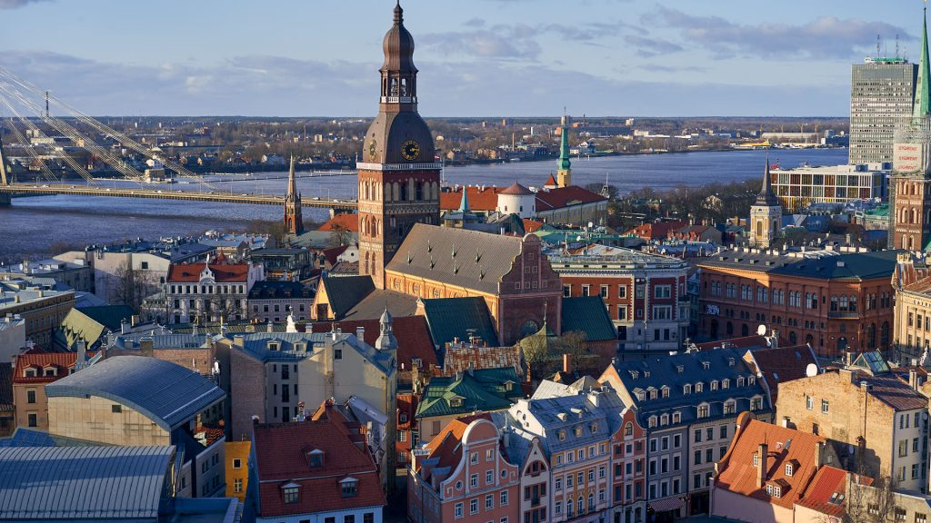 View from the top of St Peter's Church in Riga, Latvia