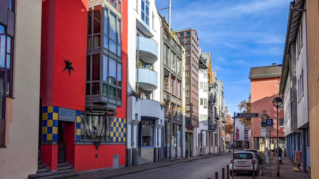 Colourful houses in the Saalgasse in Frankfurt