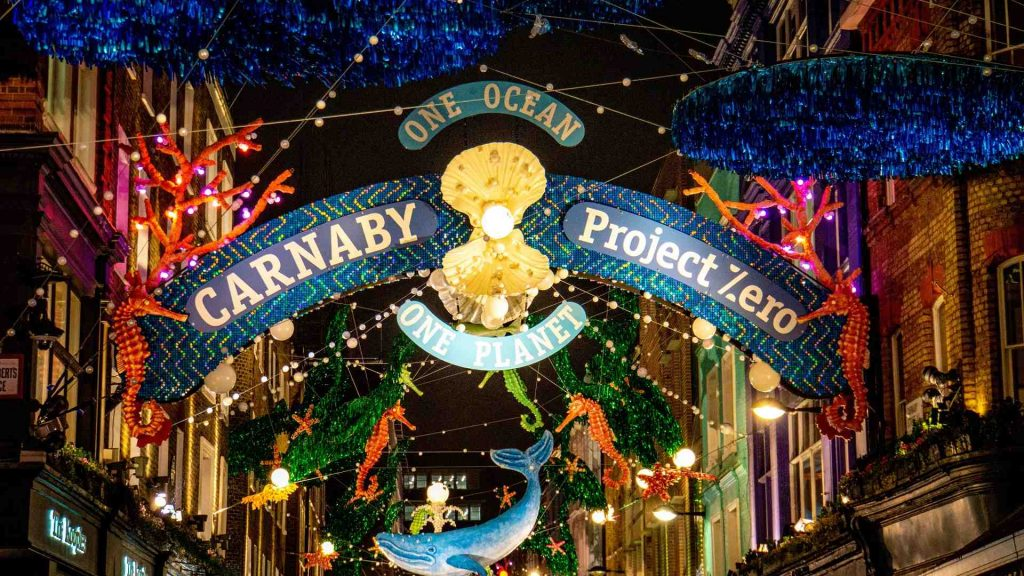 Carnaby Street decorated for Christmas in London, UK