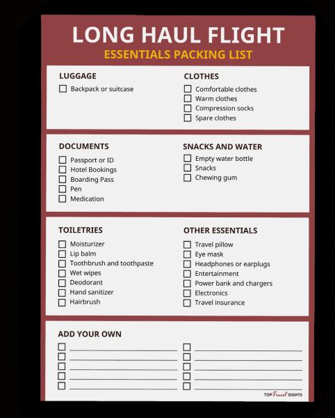 Mockup of the Packing List Long Haul Flight Printable
