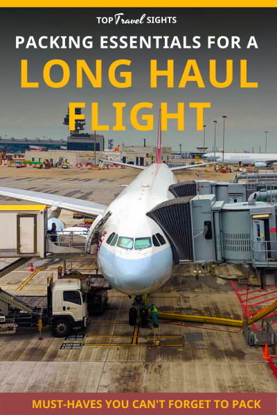 Pinterest graphic for essentials for long haul flights