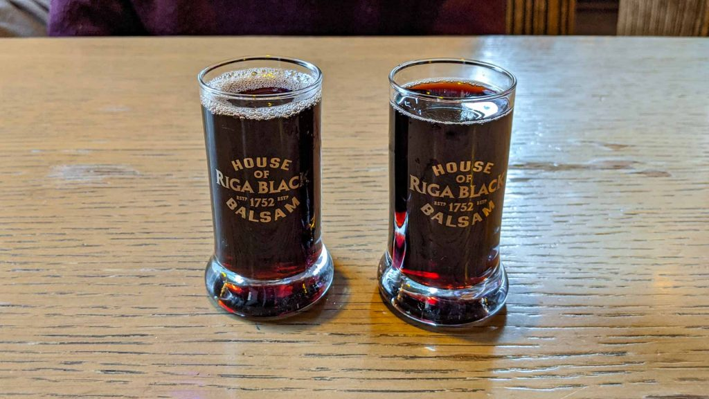 Two glasses of Riga Black Balsam