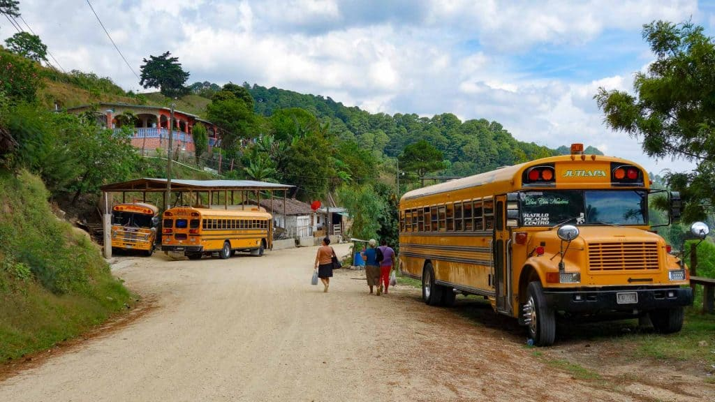 Chicken buses in Honduras