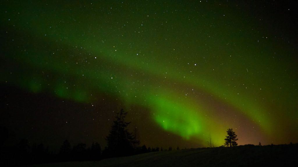 The Northern Lights seen in Lapland